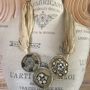 Anthropologie Scarf necklace w/3 beaded medallions
